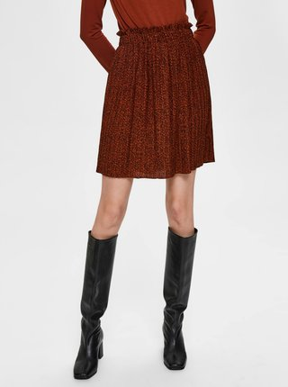 Hnedá plisovaná sukňa Selected Femme Kinsley