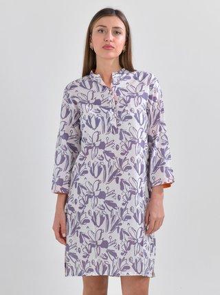 Fialovo-bílá květovaná dlouhá košile Ble