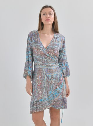Modré vzorované zavinovací šaty Ble