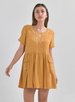 Žluté šaty s výšivkou Ble