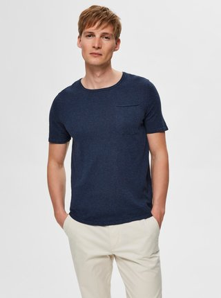 Tmavě modré basic tričko Selected Homme