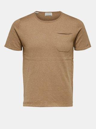 Béžové basic tričko Selected Homme
