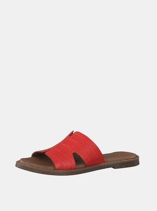Červené kožené šľapky s krokodýlím vzorom Tamaris