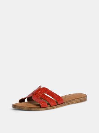 Oranžové kožené pantofle s krokodýlím vzorem Tamaris
