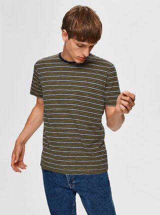 Tmavozelené pruhované tričko Selected Homme