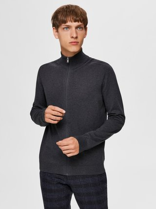 Tmavě šedý svetr na zip Selected Homme