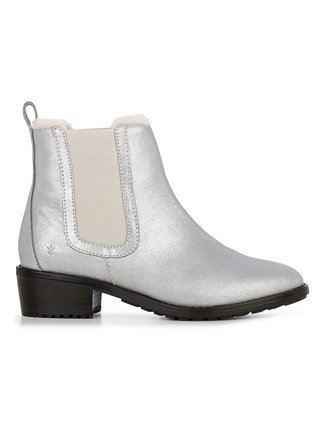 Emu Australia stříbrné kožené boty na podpatku Ellin Metallic Silver