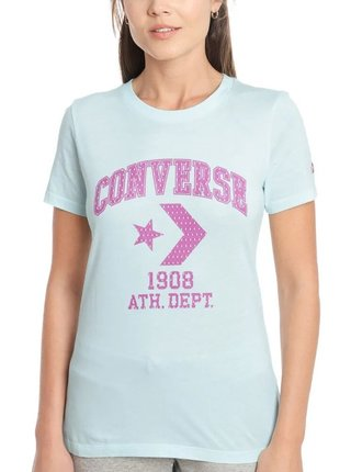 Converse tyrkysové tričko Star Chevron Remix s růžovým logem