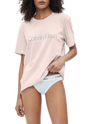 Calvin Klein pudrové tričko S/S Crew Neck s logem