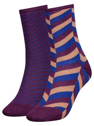 Tommy Hilfiger fialový 2 pack ponožek TH Women Sock 2P Herringbone