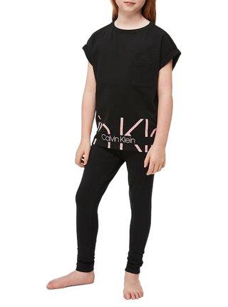Calvin Klein černé dívčí tričko Slouchy Top