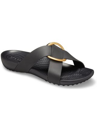 Crocs černé pantofle Serena Cross Band Slide