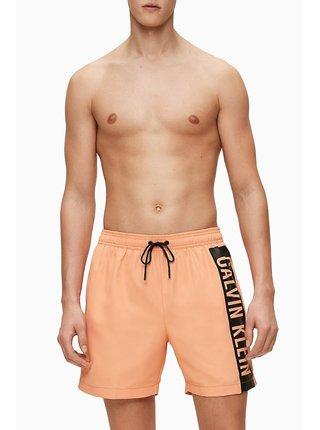 Calvin Klein oranžové pánske plavky Medium Drawstring s logom