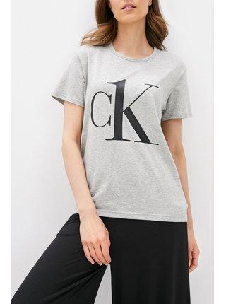 Calvin Klein šedé tričko S/S Crew Neck s logem