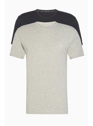 Calvin Klein černo-šedý pánský 2 pack triček S/S Crew Neck 2PK