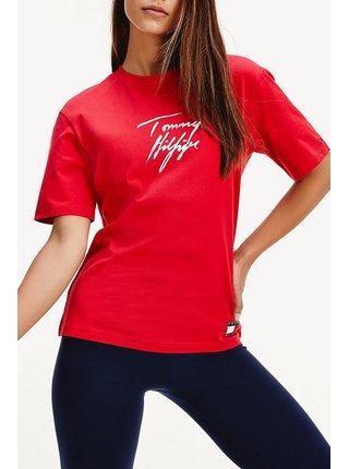 Tommy Hilfiger červené tričko SS Logo Tee Tango Red