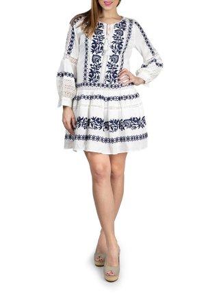 Anany biele šaty Porto Blanco so vzormi