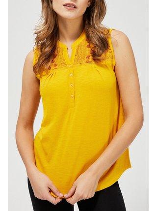 Moodo žlutý letní top s knoflíčky