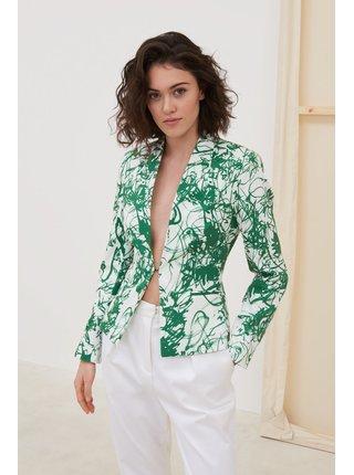 Pietro Filipi bílé dámské sako s abstraktními vzory