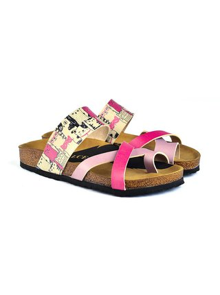 Calceo růžové pantofle Thong Sandals Cats