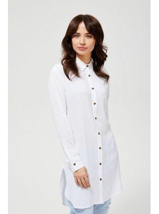 Moodo dlouhá bílá košile s dlouhým rukávem