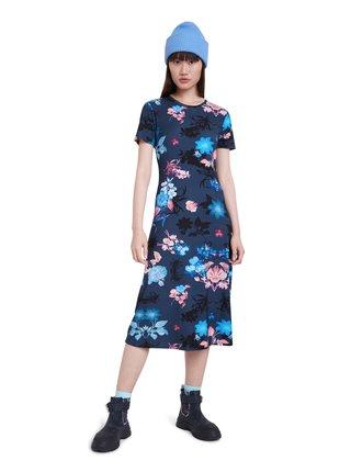 Desigual modré květinové midi šaty Vest Bouquet