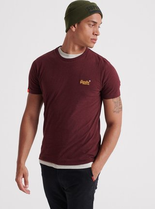 Vínové pánské tričko Superdry