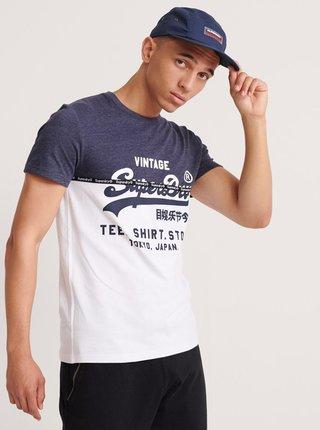 Modro-bílé pánské tričko s potiskem Superdry