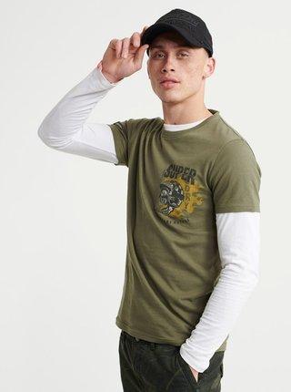 Kaki pánske tričko s potlačou Superdry