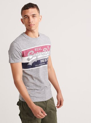 Šedé pánske tričko s potlačou Superdry