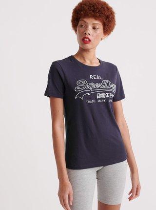 Tmavě modré dámské tričko s potiskem Superdry