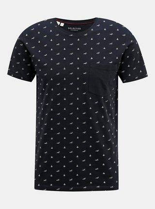 Tmavě modré vzorované tričko Selected Homme