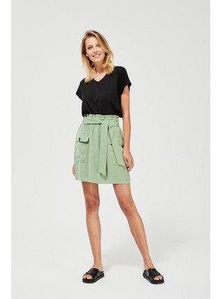 Moodo zelená sukně s kapsami a vázáním