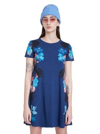 Desigual modré šaty Vest Mirror s barevným potiskem