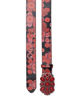 Desigual červený dámský pásek Belt Color Stones