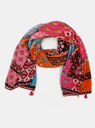 Růžový vzorovaný šátek Desigual
