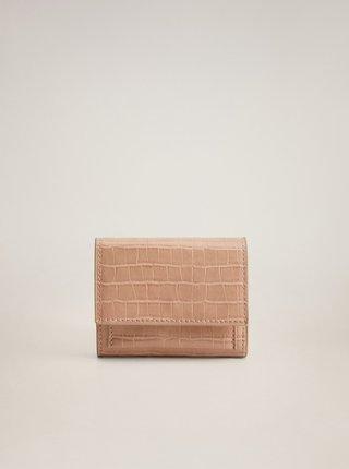 Růžová peněženka s krokodýlím vzorem Mango