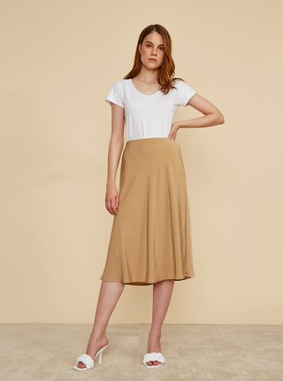 Béžová saténová midi sukňa ZOOT Molly