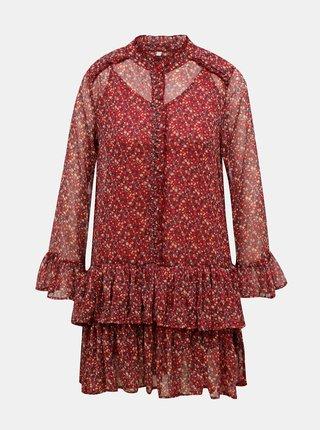 Červené květované šaty Pepe Jeans