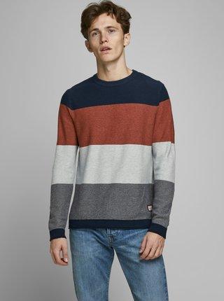 Hnedo-šedý sveter Jack & Jones Flame
