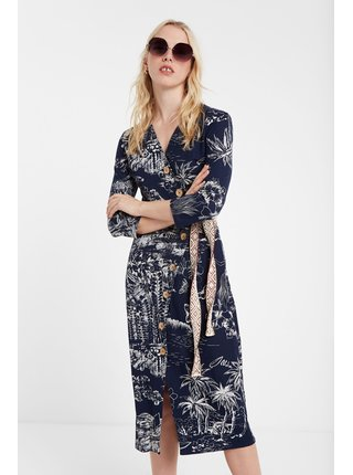 Desigual modré šaty Vest Pacific Dream se vzory