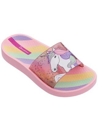 Ipanema růžové dívčí pantofle Urban Slide Kids Pink/Glitter