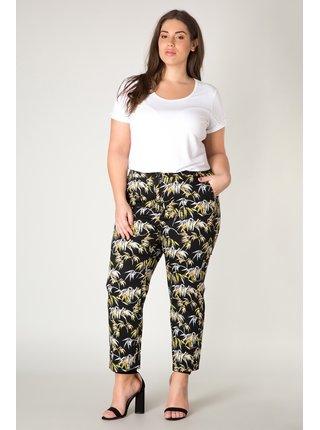 Yesta černé kalhoty Jade s tropickými motivy