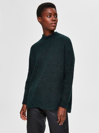 Tmavozelený vlnený sveter Selected Femme Lulu
