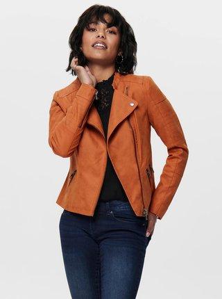 Oranžová koženková bunda ONLY Lava