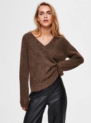 Hnědý vlněný svetr Selected Femme Lulu