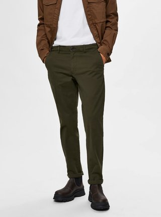 Tmavě zelené chino kalhoty Selected Homme New Paris