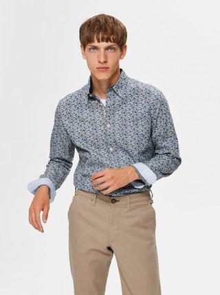 Modrá vzorovaná slim fit košeľa Selected Homme Tyler