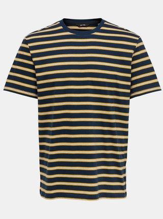 Tmavě modré pruhované tričko ONLY & SONS Mel