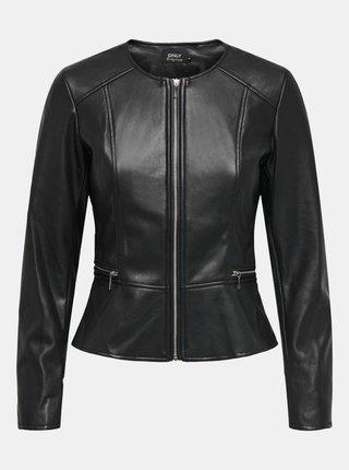 Černá koženková bunda ONLY Jenny